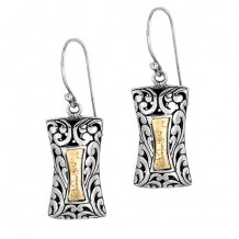 Oxidized long Rectangular Dangle Earring with Florentine Pattern Philli Gavriel Collection