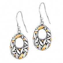 Oxidized Graduated Oval Dangle Erring with Florentine Pattern Collection