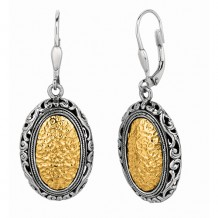 18kt Yellow Gold and Sterling Silver Oxidized Hammered Finished Oval Byzantine Drop Leverback Earrings.
