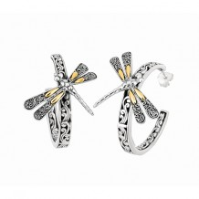 18kt Yellow Gold and Sterling Silver Oxidized Dragonfly Earrings.
