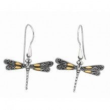 18kt Yellow Gold and Sterling Silver Oxidized Single Dragonfly Drop Earrings.