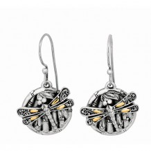 18kt Yellow Gold and Sterling Silver Oxidized Dragonfly Bamboo Drop Earring.