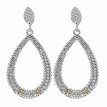 18kt Yellow Gold and Sterling Silver with Rhodium Finish Fancy Teardrop Earring with 14-0.01ct Faceted White Diamond