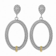 18kt Yellow Gold and Sterling Silver with Rhodium Finish Shiny Fancy Open Oval Drop Earrings.