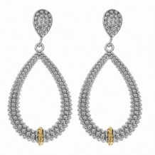 18kt Yellow Gold and Sterling Silver with Rhodium Finish Shiny Fancy Open Teardrop Drop Earrings.