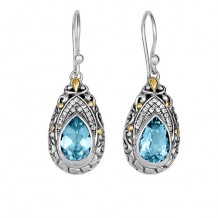 18kt Yellow Gold and Sterling Silver with Oxidized Finish Shiny 35x13mm White Sapphire and Blue Topaz Teardrop Fancy Byzantine Drop Earring with Euro Wire Clasp