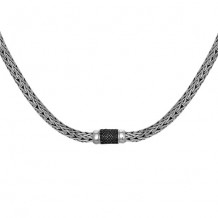 Sterling Silver 18 Inch 6x4mm Oval Weave Necklace with 1.7mm Black Sapphire Center andFancy Lobster Clasp