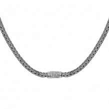 Sterling Silver 18 Inch 6x4mm Oval Weave Necklace with 1.7mm White Sapphire Center and Fancy Lobster Clasp