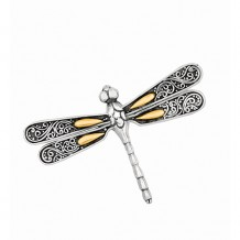 18kt Yellow Gold and Sterling Silver Oxidized Single Dragonfly Pendant.