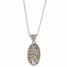 18kt Yellow Gold and Sterling Silver 0.43ct. Diamond Oval Domed Pendant with Dragonfly