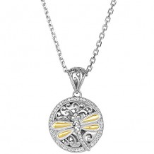 18kt Yellow Gold and Sterling Silver with Rhodium Finish Shiny 29x19mm Round Dragonfly Fancy Pendant with White Sapphire on 18 Inch Cable Chain with Lobster Clasp