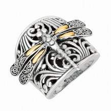 18kt Yellow Gold and Sterling Silver Oxidized Dragonfly Ring.