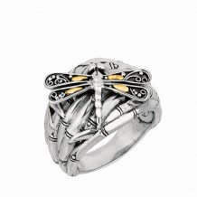 18kt Yellow Gold and Sterling Silver Oxidized Dragonfly Bamboo Ring