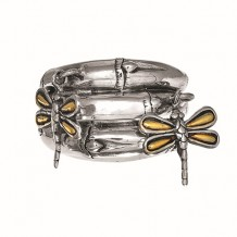 18kt Yellow Gold and Sterling Silver 3-Row Graduated Bamboo Ring with 2-Dangle Dragonflies