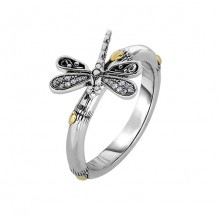 18kt Yellow Gold and Sterling Silver with Oxidized Finish Shiny 14-2.9mm Bamboo Textured White Sapphire Dragonfly Fancy Ring