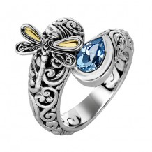 18kt Yellow Gold and Sterling Silver with Oxidized Finish Shiny 18-4.2mm Blue Topaz Bypass Type Graduated Dragonfly Fancy Ring