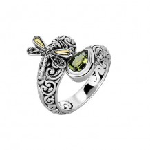 18kt Yellow Gold and Sterling Silver with Oxidized Finish Shiny 18-4.2mm Peridot Bypass Type Graduated Dragonfly Fancy Ring