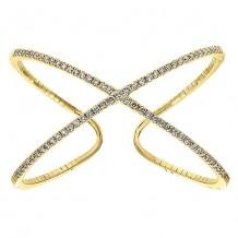 14k Yellow Gold Gabriel & Co. Diamond Criss Cross Bangle Bracelet