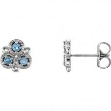 Stuller 14k White Gold Aquamarine Three-Stone Earrings