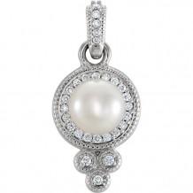 Stuller 14k White Gold Freshwater Pearl Diamond Pendant