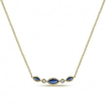 14k Yellow Gold Gabriel & Co. Diamond and Sapphire Indulgence Bar Necklace