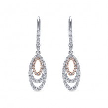 14k Two Tone Gold Gabriel & Co. Diamond Drop Earrings