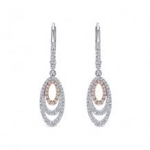 14k Two Tone Gold Gabriel & Co. Diamond Drop Earrings