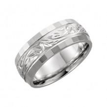 Stuller 14k White Gold Hand-Engraved Wedding Band