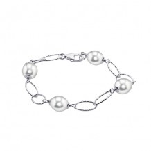 Imperial Pearl Sterling Silver Freshwater Pearl Oval Station Bracelet