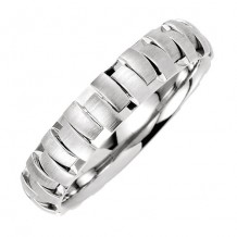 Stuller 14k White Gold Patterned Men's Wedding Band