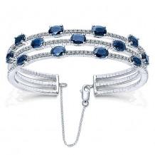 14k White Gold Gabriel & Co. Diamond And Sapphire Bangle Bracelet