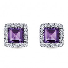 14k White Gold Gabriel & Co. Diamond Amethyst Stud Earrings