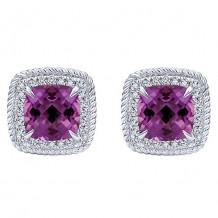 14k White Gold Gabriel & Co. Diamond Amethyst Stud Earrings