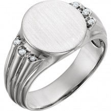 Stuller 14k White Gold Diamond Men's Oval Signet Ring