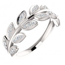 Stuller 14k White Gold 1/4ct Diamond Leaf Fashion Ring