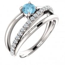 Stuller 14k White Gold Aquamarine Diamond Ring
