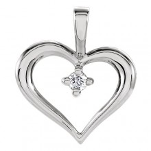Stuller Sterling Silver Diamond Heart Pendant